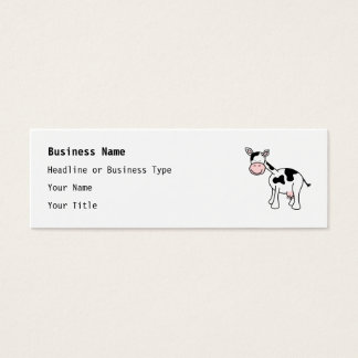 Black and White Cow Cartoon. Mini Business Card