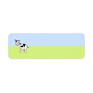 Black and White Cow Cartoon. Return Address Label
