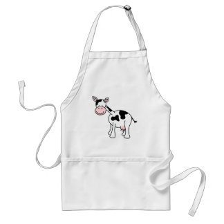 Black and White Cow Cartoon. Standard Apron