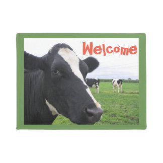 Black and White Cow Dairy Cattle Farm Funny Farm Doormat