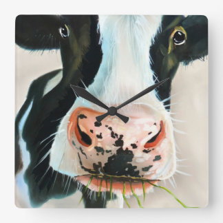 Black and white cow face Gordon Bruce art Square Wall Clock