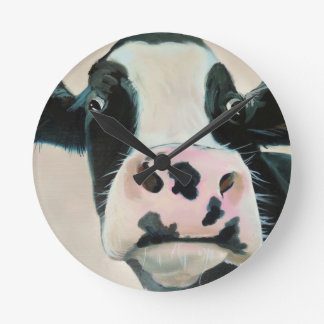 Black and white cow face portrait painting round clock