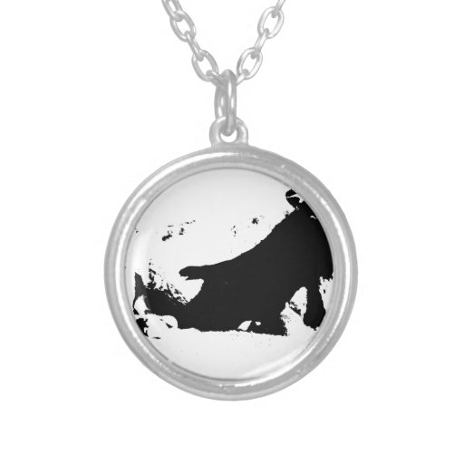 Black and White Cow in Ink Pendant