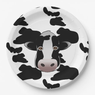 Black and White Cow Pattern Paper Plate