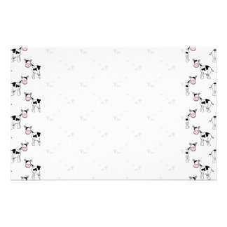 Black and White Cow Pattern Stationery Paper