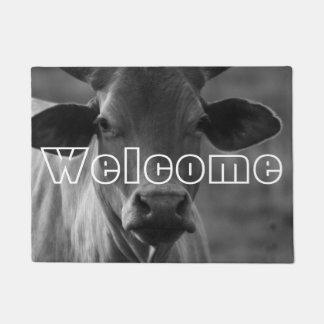 Black and White Cow Photo Bull Cattle Heifer Horns Doormat