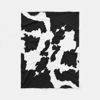 Black and white Cow Print Pattern Fleece Blanket