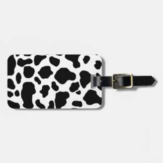 black and white cow print pattern luggage tag