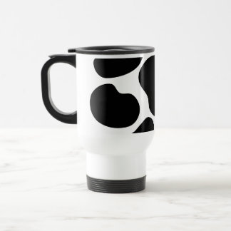 Black and White Cow Print Pattern. Travel Mug