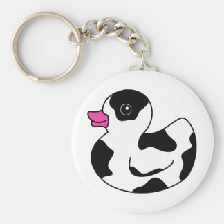 Black and White Cow Print Rubber Duck Key Ring