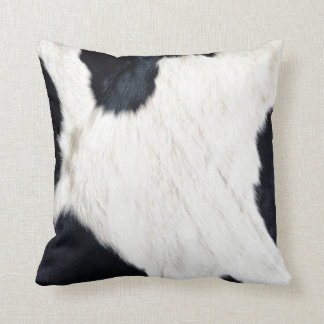 Black and White Cowhide Square Pillow