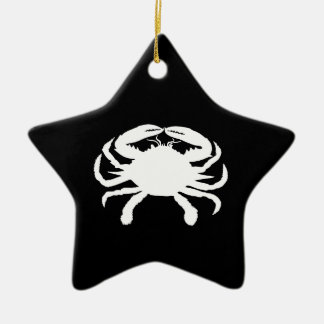 Black and White Crab Christmas Ornament