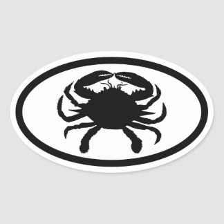 Black and White Crab Oval Sticker