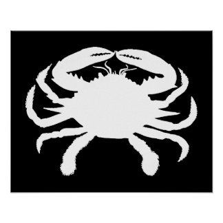Black and White Crab Poster