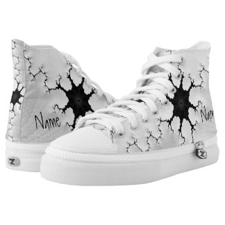 Black and White Cracked Fractal Art Add Your Name High Tops