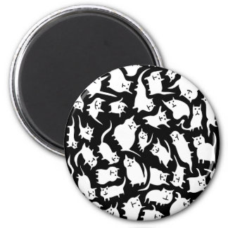 Black and White Crazy Cats Magnet