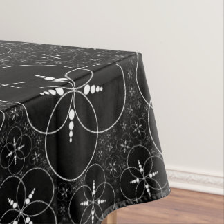 Black And White Crop Circle Inspired Tablecloth