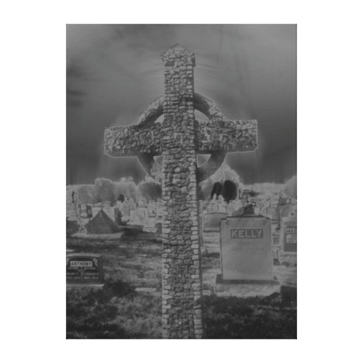 Black and white cross gallery wrapped canvas