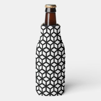 Black And White Cube Pattern Bottle Cooler