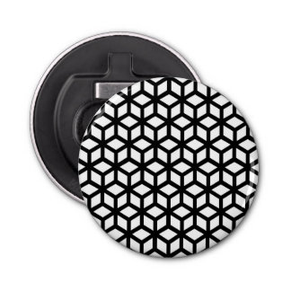 Black And White Cube Pattern Bottle Opener