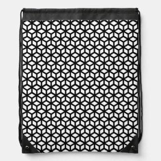 Black And White Cube Pattern Drawstring Bag