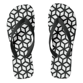 Black And White Cube Pattern Flip Flops