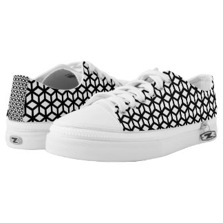 Black And White Cube Pattern Low Tops