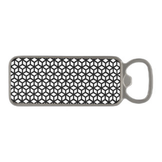 Black And White Cube Pattern Magnetic Bottle Opener