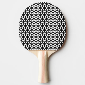 Black And White Cube Pattern Ping Pong Paddle