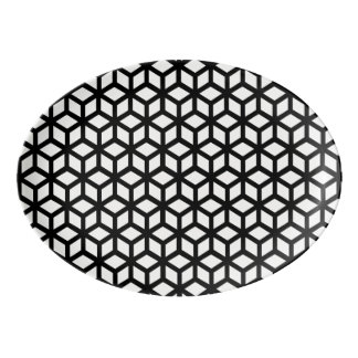 Black And White Cube Pattern Porcelain Serving Platter
