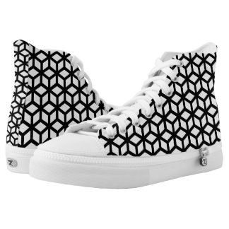 Black And White Cube Pattern Printed Shoes
