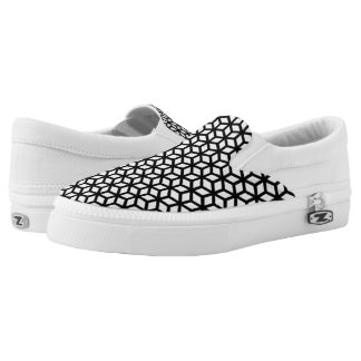Black And White Cube Pattern Slip On Shoes
