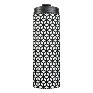 Black And White Cube Pattern Thermal Tumbler