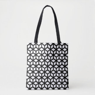 Black And White Cube Pattern Tote Bag