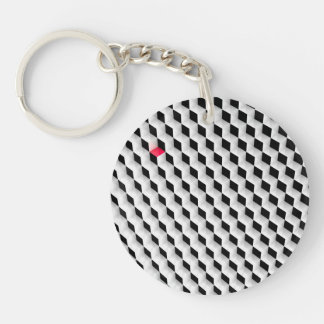Black and white cubes with one red cube. acrylic keychain
