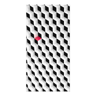 Black and white cubes with one red cube. photo card