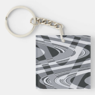 Black and White Curves Key Ring