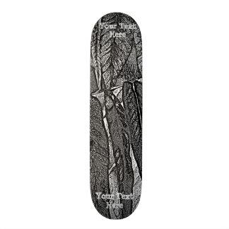 black and white curves modern abstract leaf design skate board decks
