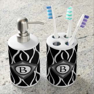 Black and White Curvy Pattern with Custom Monogram Soap Dispenser
