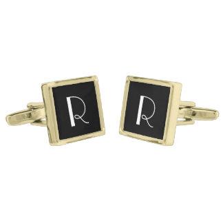 Black and White Custom Monogram Gold Finish Cuff Links