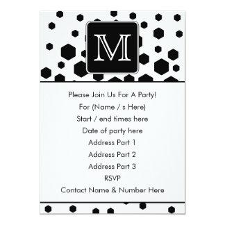 Black and White Custom Monogram. Hexagon Dots. 13 Cm X 18 Cm Invitation Card