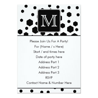 Black and White Custom Monogram. Hexagon Dots. Card