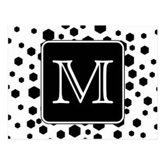 Black and White Custom Monogram. Hexagon Dots. Post Card