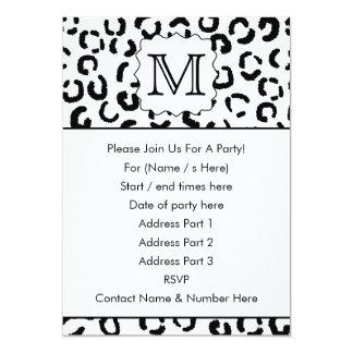 Black and White Custom Monogram Leopard Print. 13 Cm X 18 Cm Invitation Card