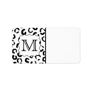 Black and White Custom Monogram Leopard Print. Address Label