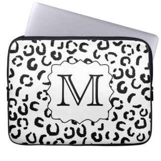 Black and White Custom Monogram Leopard Print. Laptop Sleeve
