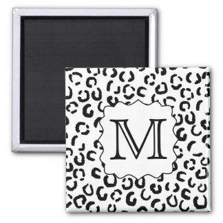 Black and White Custom Monogram Leopard Print. Magnet