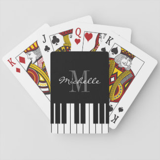 Black and white custom monogrammed piano keys playing cards