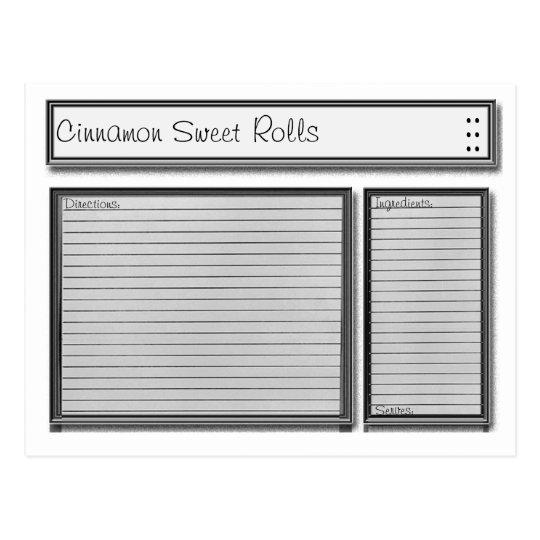 Black and White Custom Recipe Card