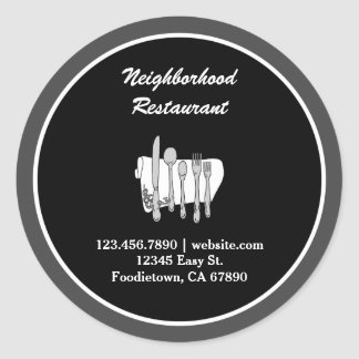 Black and White Custom Restaurant Stickers